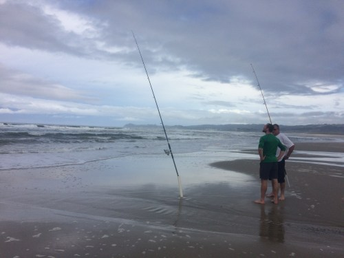 surf casting, beach, fishing, Northland, New Zealand