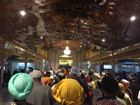 Hundreds of people making their way inside the gurudwara, slowly but surely.