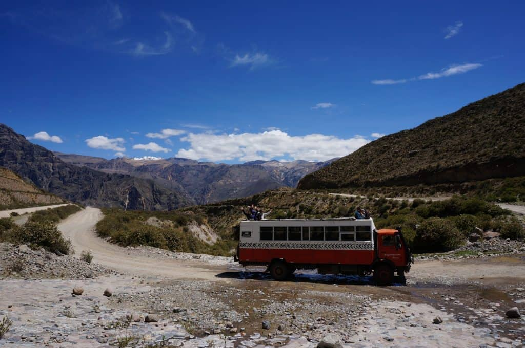An overlanding truck in Colca canyon