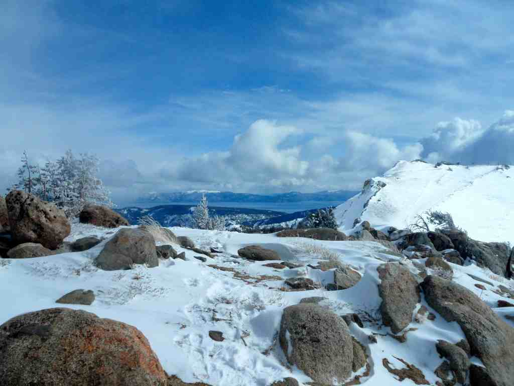 A view of Lake Tahoe, California in the snow. One place where I had a career working in the mountains