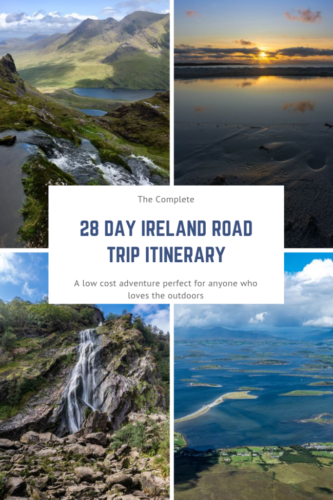 In this Ireland road trip guide, I provide all the information needed to enjoy an epic 28 day adventure around the Emerald Isle. I suggest which route to take, activities to enjoy and places to stay for each day of the trip. Suitable for those who enjoy the outdoors and are on a tight budget
