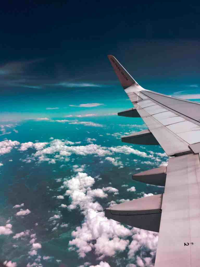 View from an aeroplane window. 6 essential items for a long-haul flight
