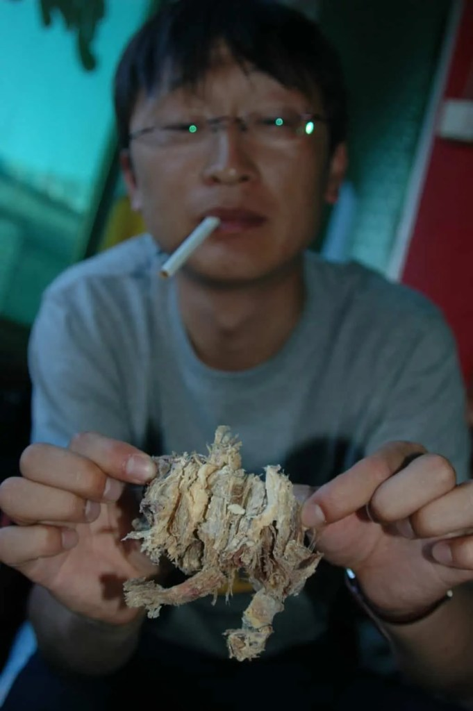 Sampling the strange food in China, this time dried mutton