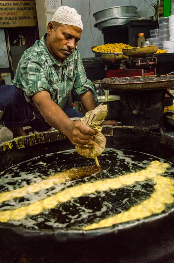 Frying Jalebi in Mumbai, India