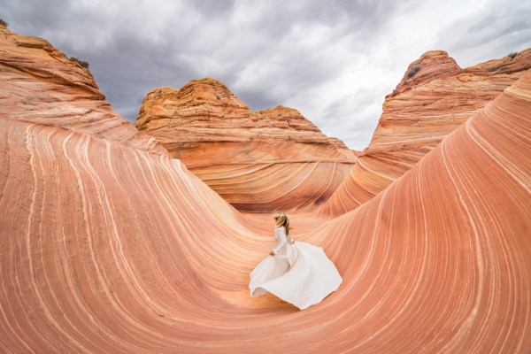 Wedding Dress at The Wave, Arizona by Wandering Wheatleys