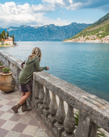 Girl looking out over the Bay of Kotor