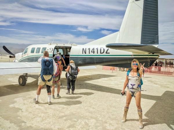 Skydiving airplane at Burning Man by Wandering Wheatleys