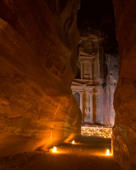The Siq at Petra by Night, Petra, Jordan by Wandering Wheatleys