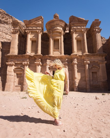 Posing in front of the Monastery, Petra, Jordan by Wandering Wheatleys