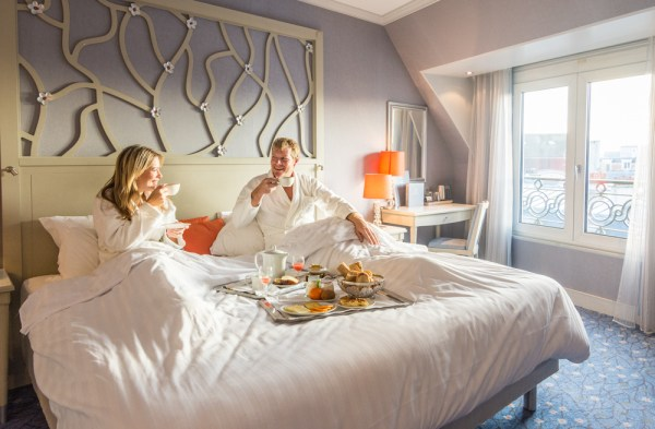 Breakfast in bed at Hotel Rochester Champs-Elysees, Paris, France by Wandering Wheatleys