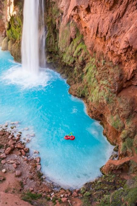 Floating beneath Havasu Falls, Arizona by Wandering Wheatleys
