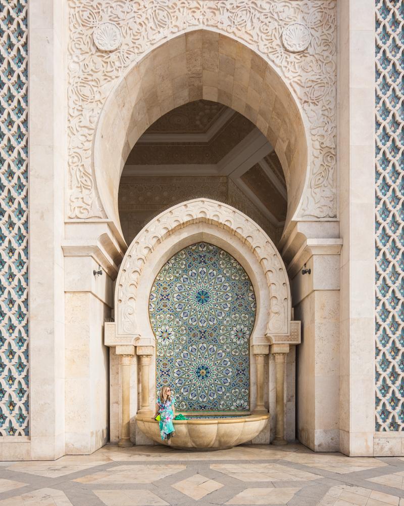 Fountain at Hassan II Mosque, Casablanca, Morocco by Wandering Wheatleys