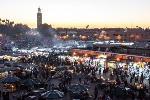 Jemaa El-Fnaa at sunset, Marrakech, Morocco by Wandering Wheatleys