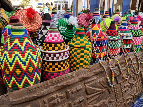 Colorful baskets in Essaouira, Morocco by Wandering Wheatleys