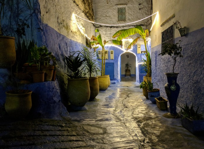 Entryway at night, Chefchaouen, Morocco by Wandering Wheatleys