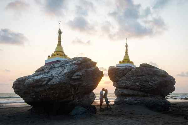 Twin Pagodas, Ngwe Saung Beach, Myanmar