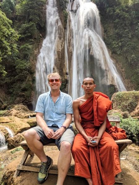 Monk at Dat Taw Gyaint Waterfall, Myanmar
