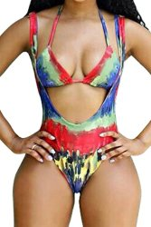 Ridiculous Women's Swimsuits: Tie-dye Suspenders