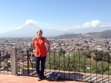 Overlooking the town of Cholula and the nearby active volcano