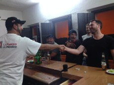 My aussie friend bet one beer. He lost, but was a good sport about it.