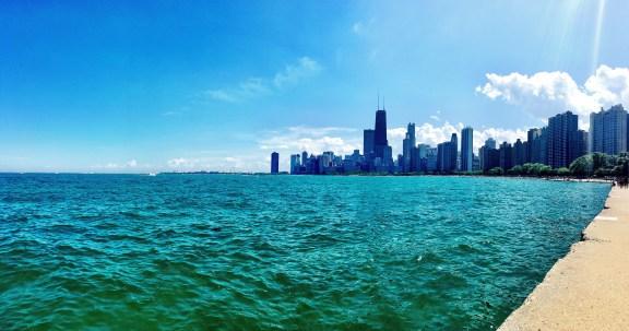 Walking along Lake Michigan from North Avenue Beach