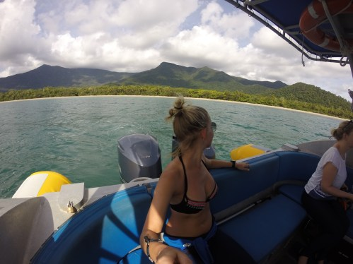 The gorgeous Daintreee Rainforest behind me as we sailed towards the Mackay Reef