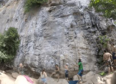 Rock climbers travel from around the world to Railey Beach