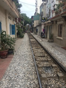 Cool street that was divided by train tracks.