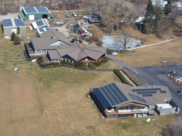Wagner Valley Estate Winery in Lodi, New York featuring solar panels on all buildings