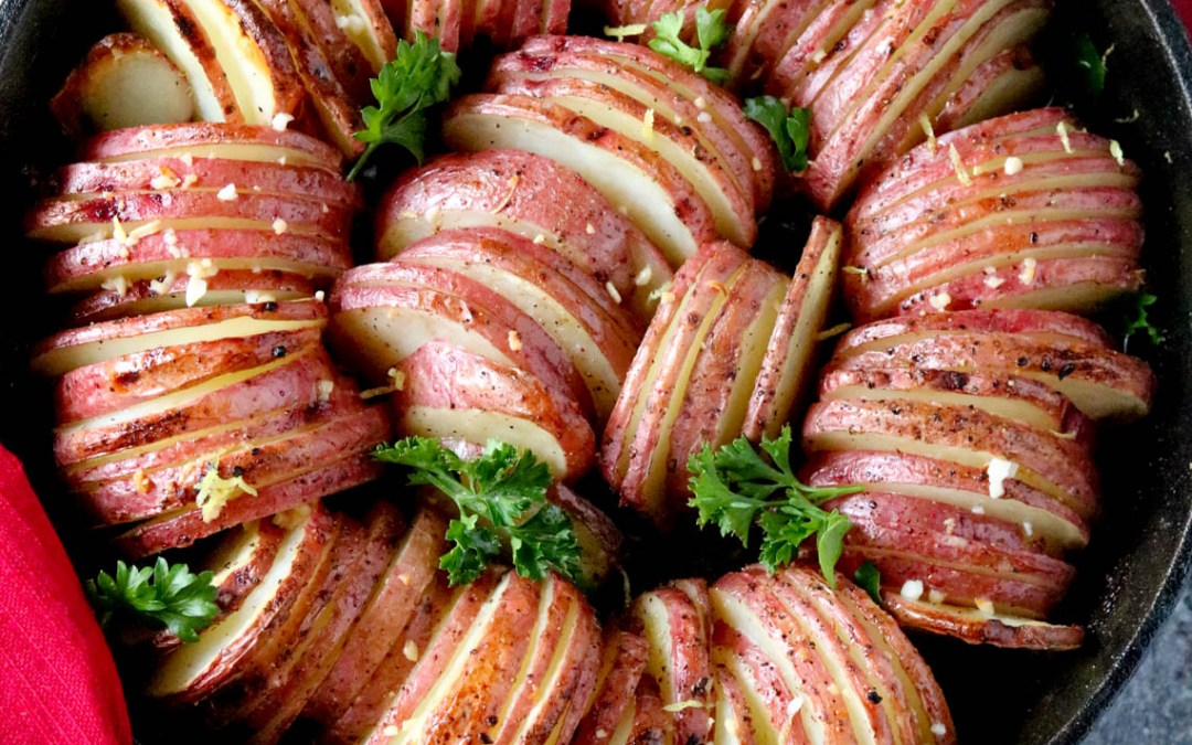 Lemon Garlic Hasselback Potatoes