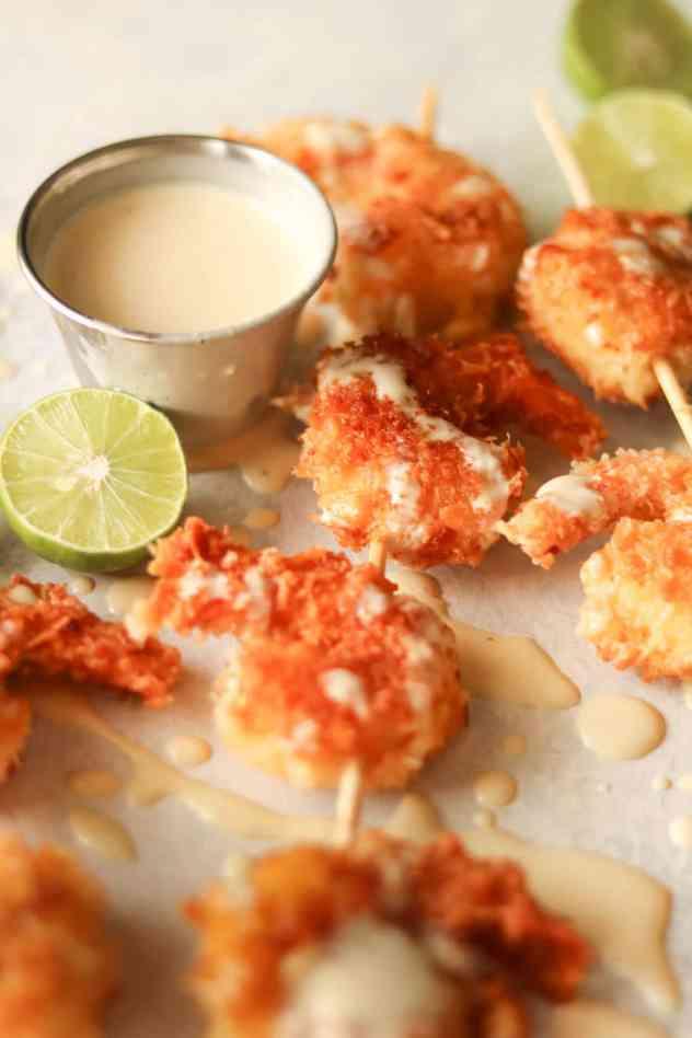 coconut shrimp with key lime aioli