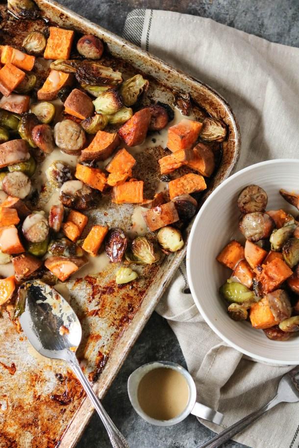 pan roasted vegetable with maple tahini
