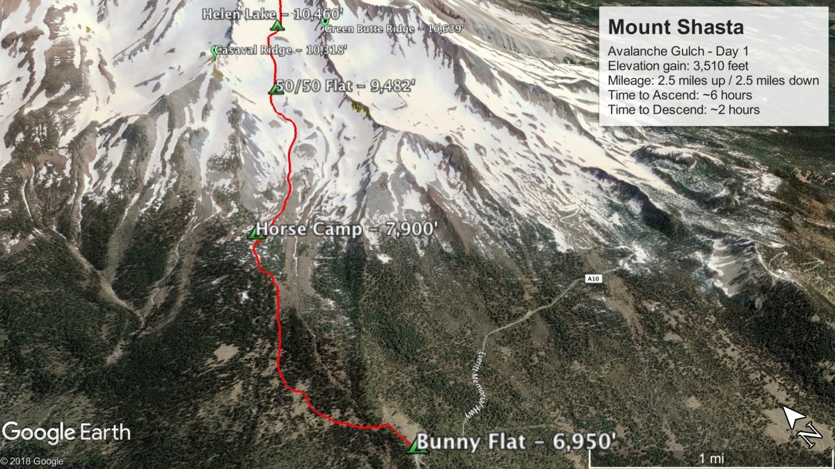 Avalanche Gulch Route - Day 1