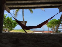 Lounging in the hammocks on the property