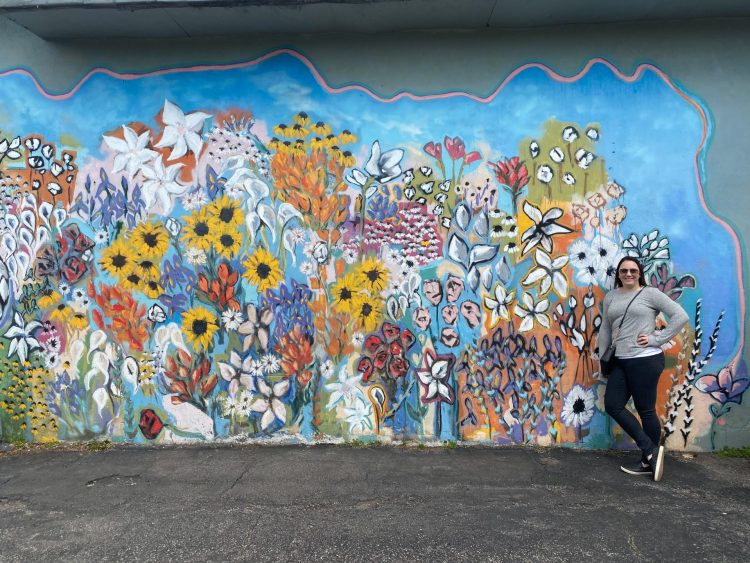 Colorful floral flower wall mural located in Nashville Tennessee