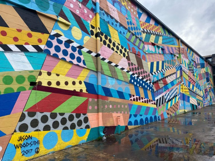 Coloful Geometric wall mural in The Gulch in Nashville Tennessee.