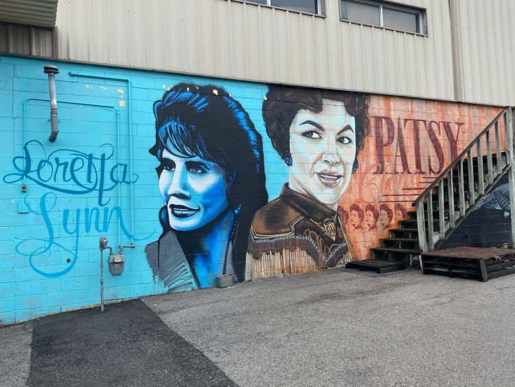 Loretta Lynn and Patsy Cline wall mural in Nashville Tennessee.