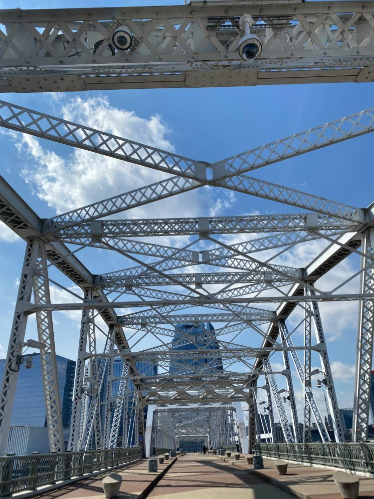 John Siegenthaler pedestrian bridge crossing the cumberland river in downtown Nashville Tennessee.