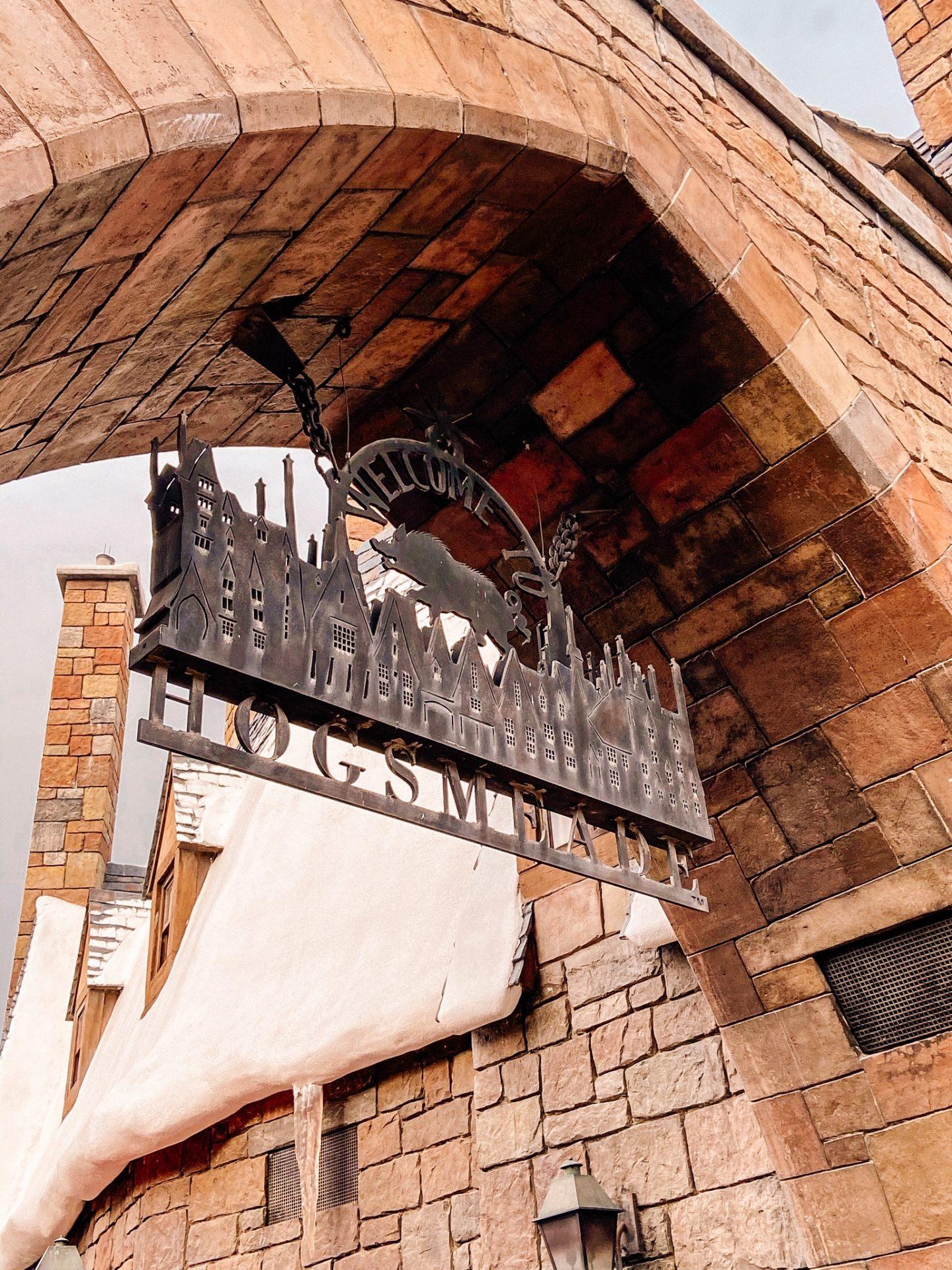 steel hogsemeade sign at hogsmeade in the wizarding world of harry potter universal studios florida