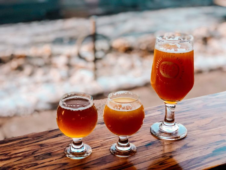 three glasses of beer at barrel theory brewing in st. paul minnesota
