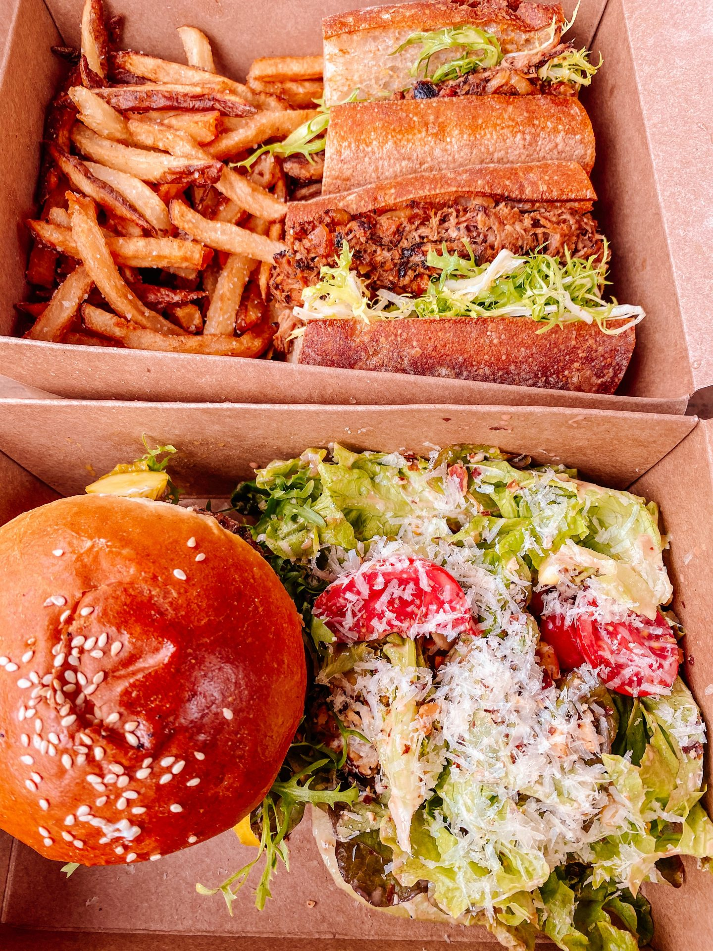 Sandwich boxes at burial brewing company located in asheville north carolina