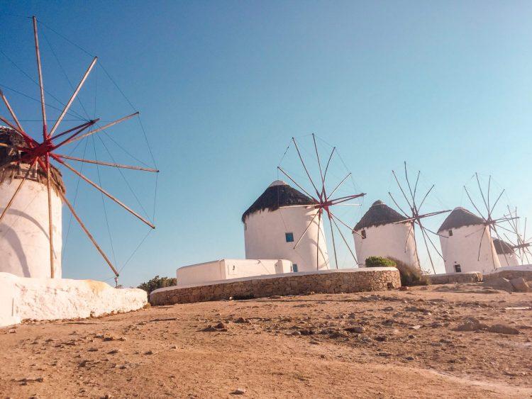 Wind mills of Mykonos Greece near Mykonos town place to visit in Greece
