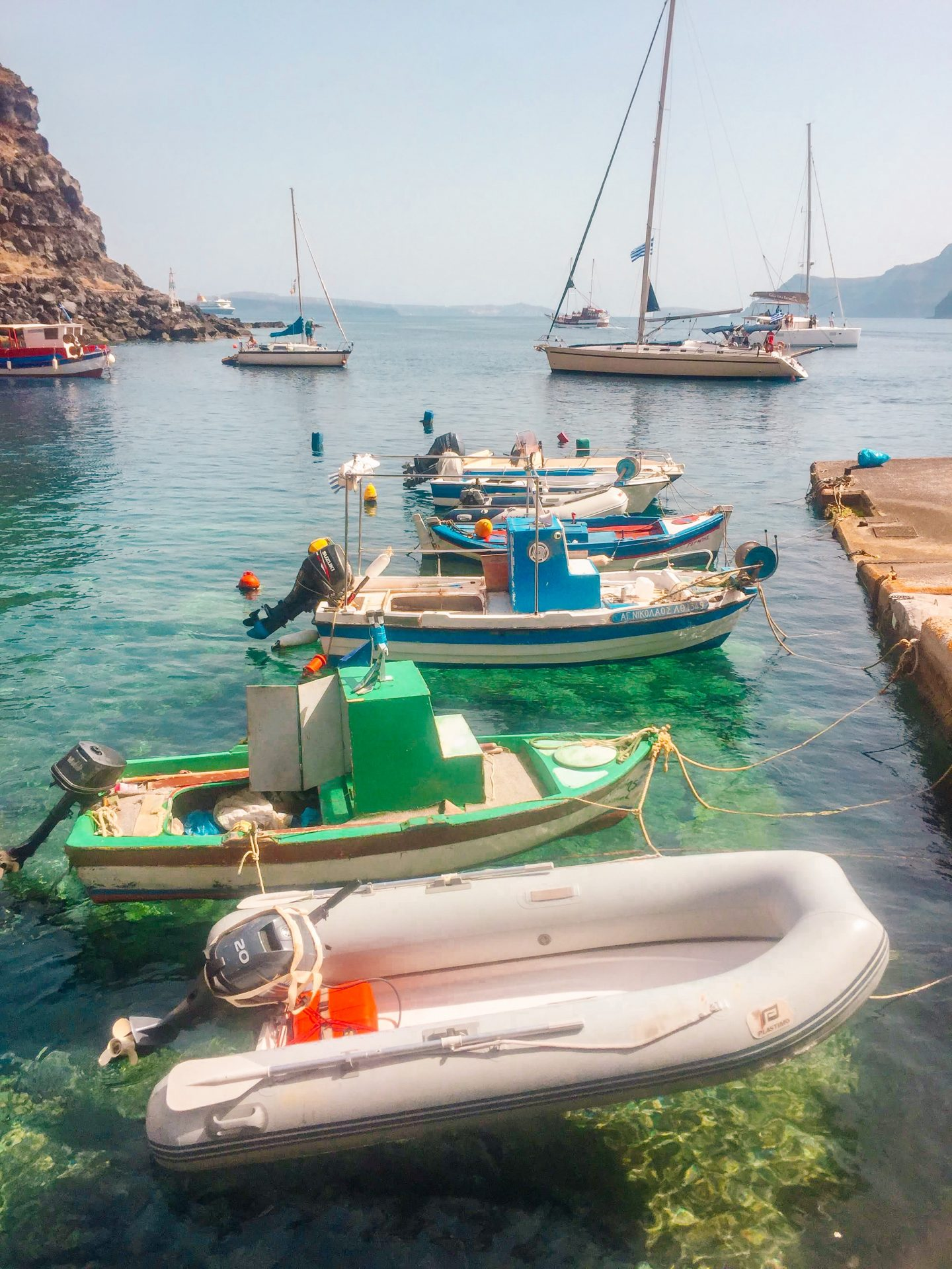 Thirassia Greece boats in the bay