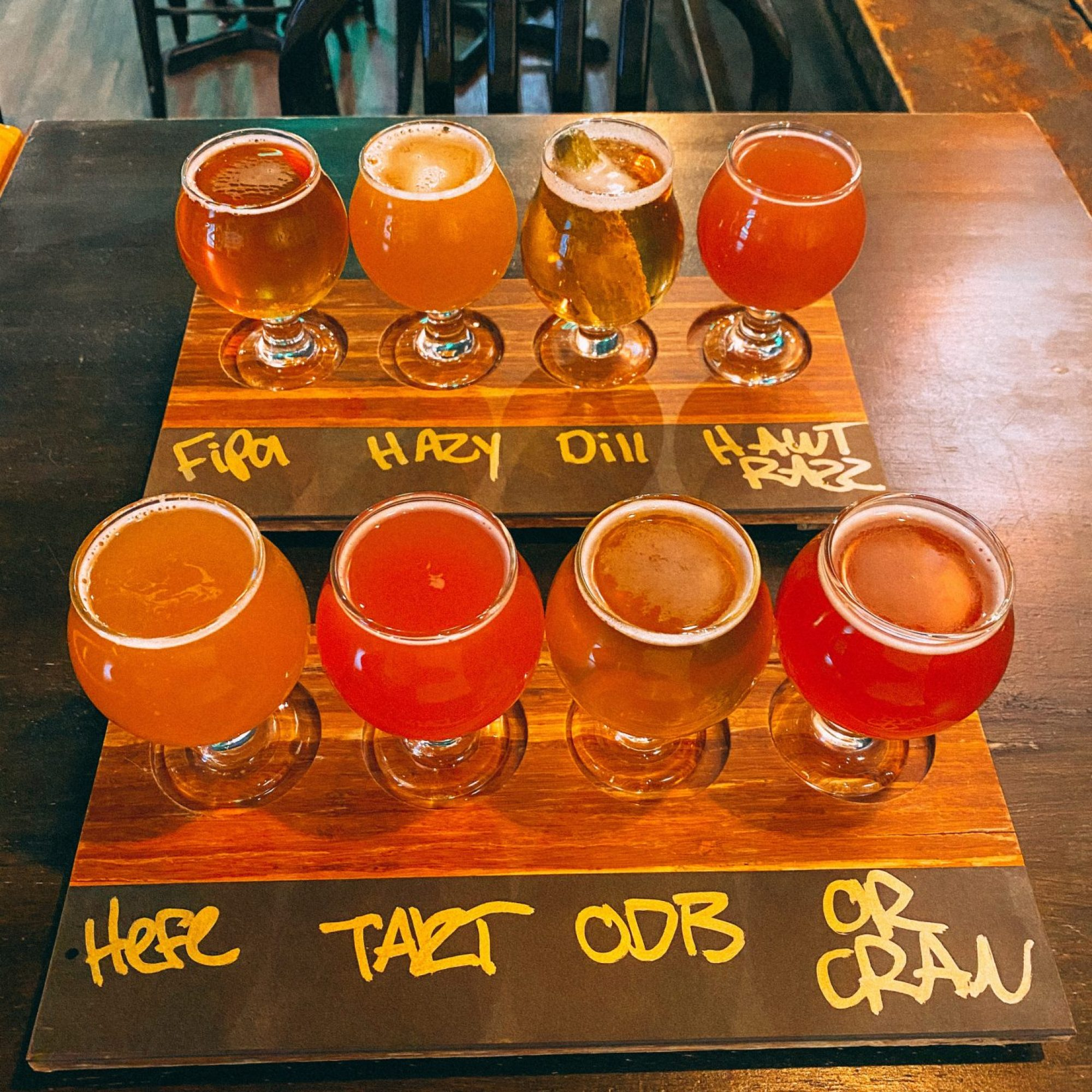 two flights of beer at blacklist brewing taproom in Duluth MN one of the best breweries