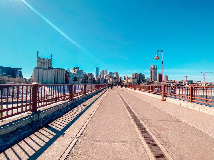 Stone Arch Bridge pedestrian bridge crossing the Mississippi River in Minneapolis, Minnesota