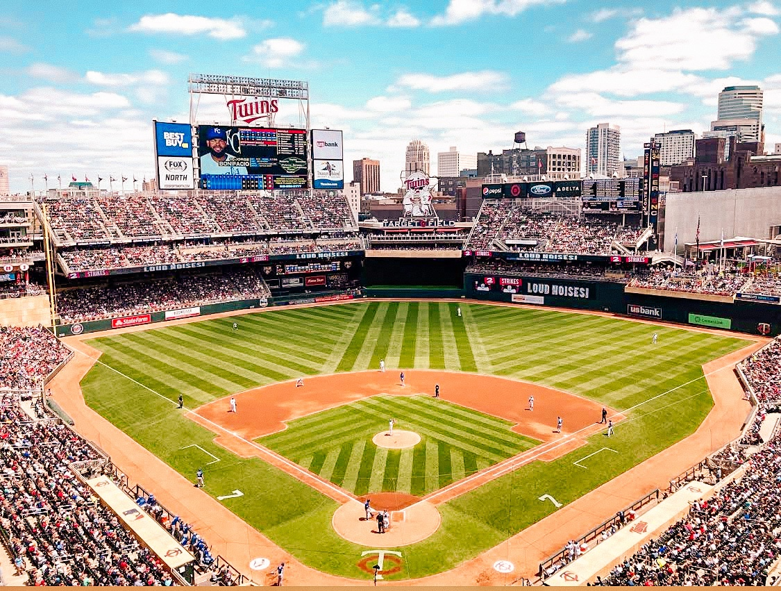 view of Minneapolis skyline from Target Field stadium home of the Minnesota Twins baseball team in the MLB