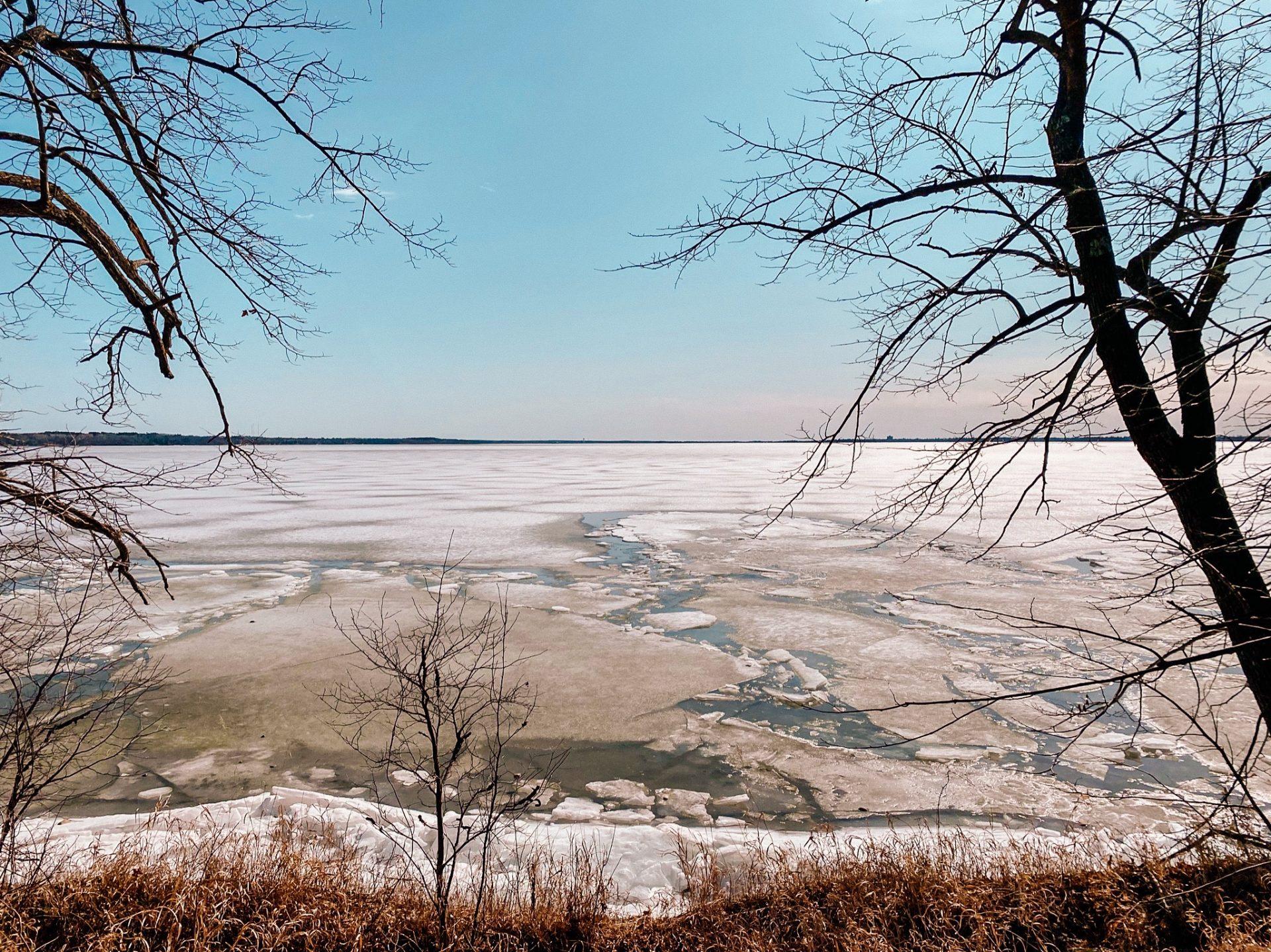 The ice coming off of Lake Bemidji in Minnesota in April.