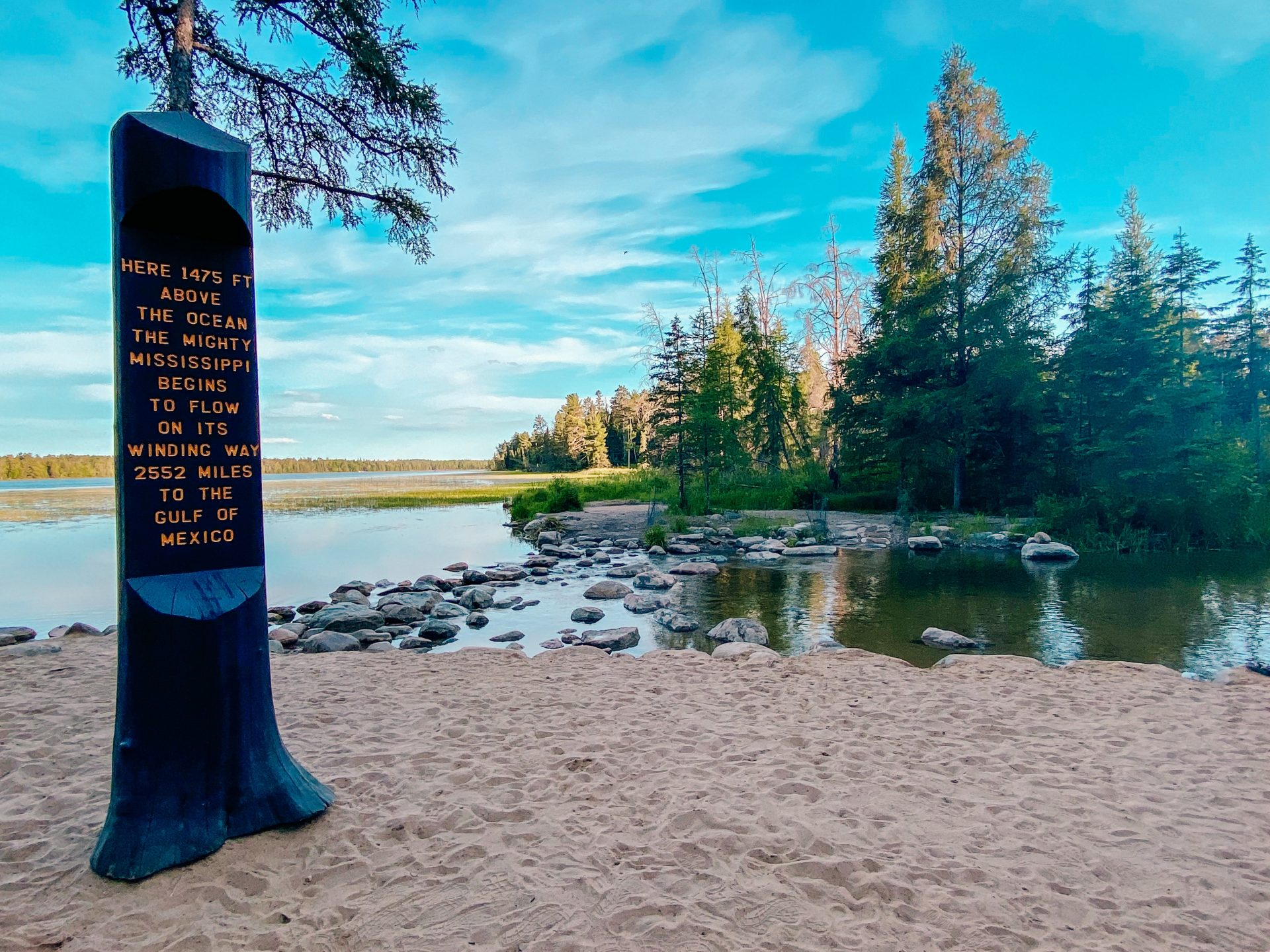Sign located at the headwaters of the Mississippi River at Itasca State Park in Minnesota