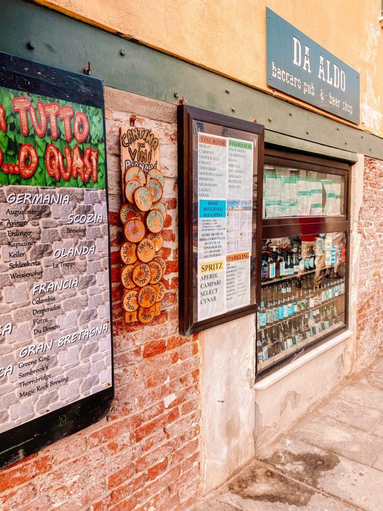 Storefront of pub da aldo in Venice Italy