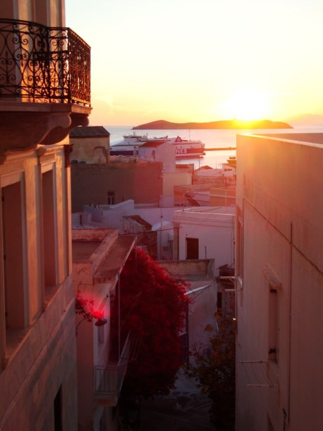 Sunrise from our lovely little apartment in Syros. best greek cyclades island